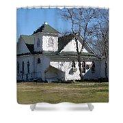White Church Near The Lake Shower Curtain