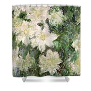 White Clematis Shower Curtain by Claude Monet