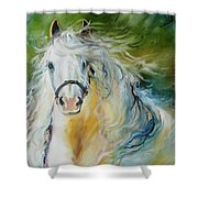 White Cloud The Andalusian Stallion Shower Curtain