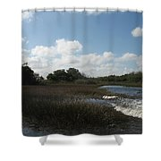 White Cloudes Over Water Shower Curtain