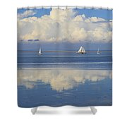 Romantic View With Sailboats In Holland Shower Curtain
