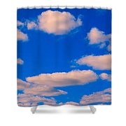 White Clouds In Blue Sky Shower Curtain