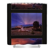 White Clouds Triptych Shower Curtain