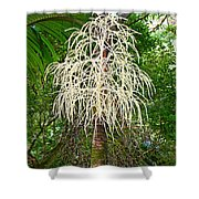 White Confetti Palm Shower Curtain