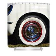 White Corvette Front Fender Shower Curtain