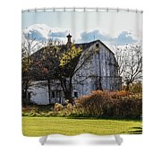 White Country Barn Shower Curtain