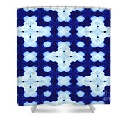 White Crosses And Blue Diamond Abstract Shower Curtain
