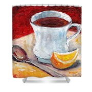 White Cup With Lemon Wedge And Spoon Grace Venditti Montreal Art Shower Curtain