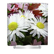 White Daisy Floral Art Print Canvas Pink Blossom Baslee Troutman Shower Curtain