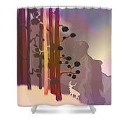 White Deer Climbing Mountains - Abstract And Colorful Forest Shower Curtain