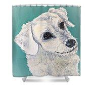 White Dog Shower Curtain