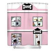 White Dog House Shower Curtain