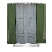 White Door In A Green Wall Shower Curtain