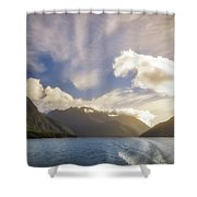 White Dragon Cloud In The Sky At Lake Manapouri Shower Curtain