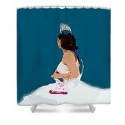 White Dress Blue Sky Shower Curtain