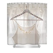 White Dress On Clothes Hanger Shower Curtain