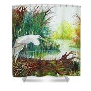 White Egret Swamp Shower Curtain