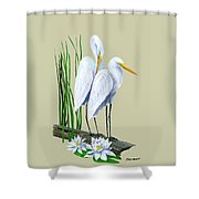 White Egrets And White Lillies Shower Curtain