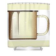 White Enamel Mug Shower Curtain