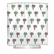 White Epic Palm Tree Print Shower Curtain