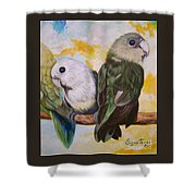 Chloe The    Flying Lamb Productions           White Faced Lovebirds Shower Curtain
