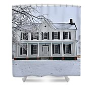 White Farm House During Winter Shower Curtain