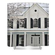 White Farm House In Winter Shower Curtain