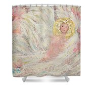 White Feathers Secret Garden Angel 4 Shower Curtain