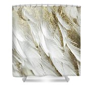 White Feathers With Gold Shower Curtain