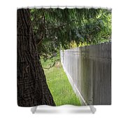White Fence And Tree Shower Curtain by Tom Singleton
