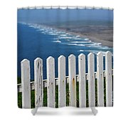 White Fence And Waves Shower Curtain