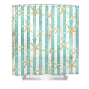 White Finger Starfish Watercolor Stripe Pattern Shower Curtain