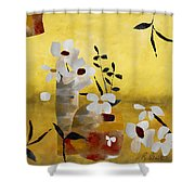 White Floral Collage II Shower Curtain