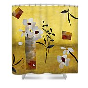 White Floral Collage Shower Curtain