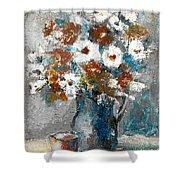 White Flower In Vase And Mug Shower Curtain