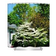 White Flowering Tree Shower Curtain