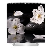 White Flowers Black Stones Shower Curtain