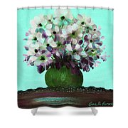 White Flowers In A Vase Shower Curtain