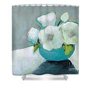 White Flowers In Blue Vase Shower Curtain