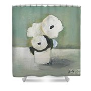 White Flowers In Vase Shower Curtain
