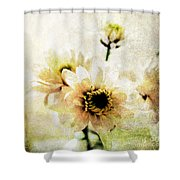 White Flowers Shower Curtain by Linda Woods