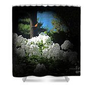 White Flowers With Monarch Butterfly Shower Curtain