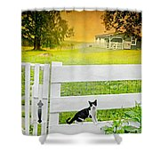 White Gate Cat Shower Curtain