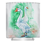 White Geese Shower Curtain