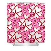 White Hearts - Valentines Pattern Shower Curtain