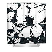 White Hibiscus- Art By Linda Woods Shower Curtain