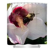 White Hibiscus Bloom With Bumble Bee Shower Curtain