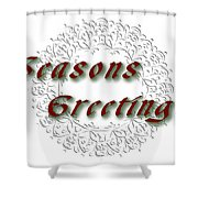 White Holiday Card Shower Curtain