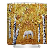 White Horse In Golden Woods Shower Curtain