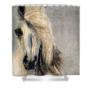 White Horse On Silver Leaf Shower Curtain